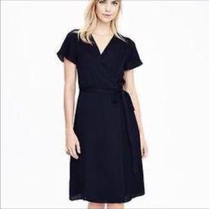 NWT Banana Republic Blk pleated wrap dress size XS